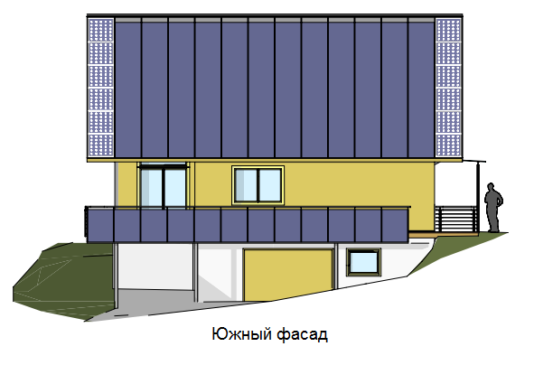 Солнечные коллекторы на южном фасаде